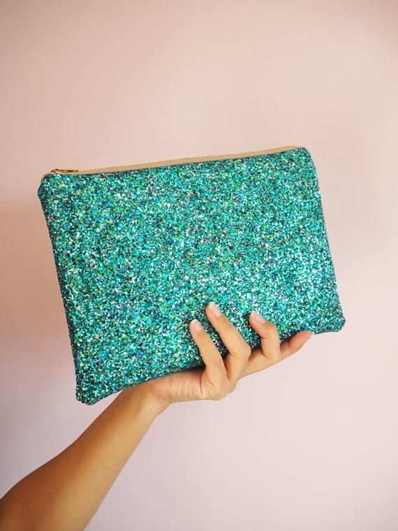 Turquoise Glitter Clutch Bag, Sparkly Turquoise Party Bag