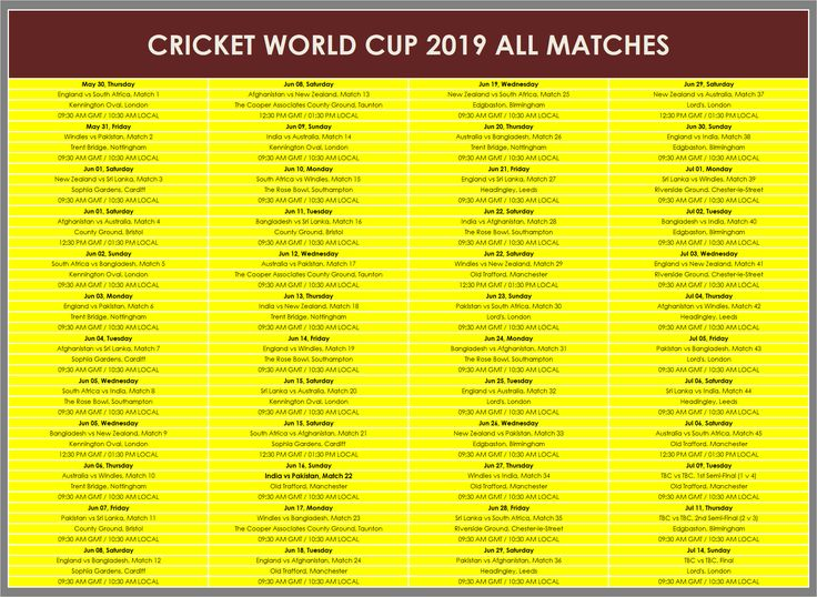 colorful template of icc cricket world cup 2019 time table