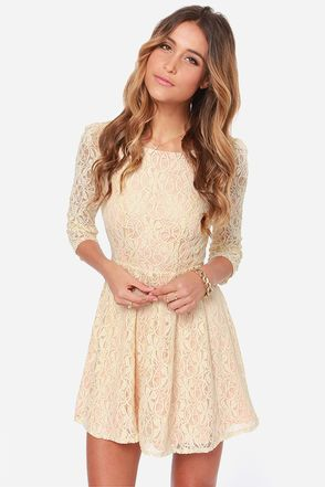 Romantic Liaison Cream Lace Dress at LuLus.com!I If this was a little longer, its sooooooo Cute!