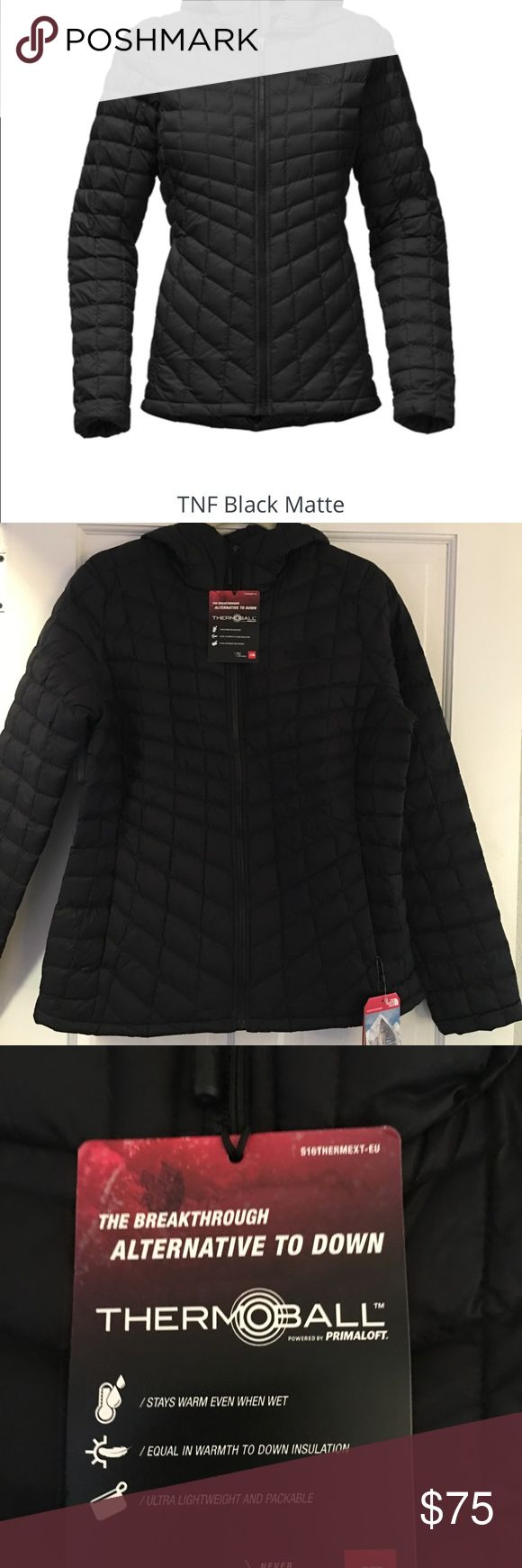 """Women's The North Face Thermoball Jacket New Women's """"The North Face""""  Thermoball jacket  Stays warm even when wet, equal in warmth to down insulation, ultra lightweight and packable. Size: Large Color: Matte Black The North Face Jackets & Coats Utility Jackets"""