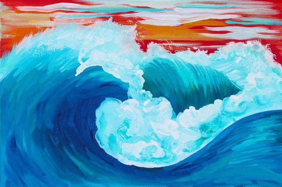 Art Painting // Sunset Wave // Colorful Original Art Wave Painting Acrylic // Hand painted Canvas 20x30x1.5cm