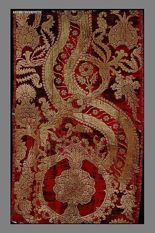 Panel of Velvet  Date: second half 15th century Culture: Italian Medium: Silk and metal thread Dimensions: Overall: 58 x 21 1/2in. (147.3 x 54.6cm); Framed: 63 x 26 x 3 in. (160 x 66 x 7.6 cm) Classification: Textiles-Velvets