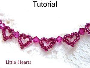 Beading Pattern, Heart Bracelet Beading Tutorial, Jewelry Making, Beaded Bracelets, Patterns Tutorials Seed Beads Simple Bead Patterns #1159... by Jersica