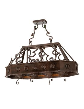 Frontera Pot Rack 22 Tall X 47 Long 25 Wide 3 Downlights Features Hand Hammered Side Walls W Grill Basket And 5 Hooks Included Par