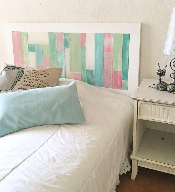 Respaldo madera, tablitas en patchwork, colores