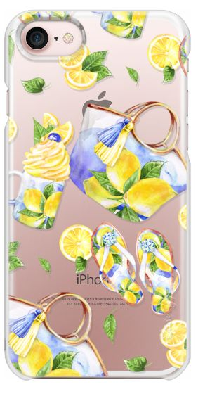 Casetify iPhone 7 Snap Case - Lemon Styled Fashion Accessories Beach Bag Shoes Flip-Flops Ice-Cream Mug Lemonade Cup Tropical Fruits Slices Pattern by Karamfila Siderova