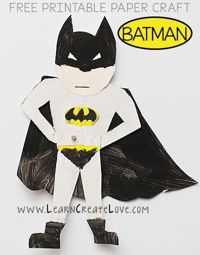 Printable Batman Craft from LearnCreateLove.com