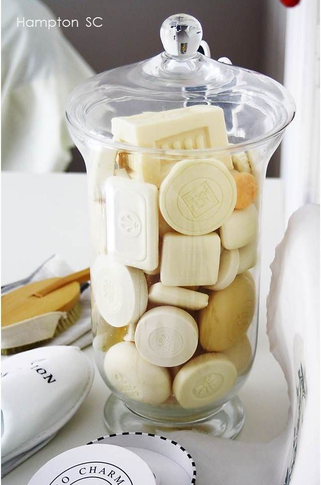 Save hotel soap in a large apothecary jar for decoration... may take a while to get lots together but its such a cute idea