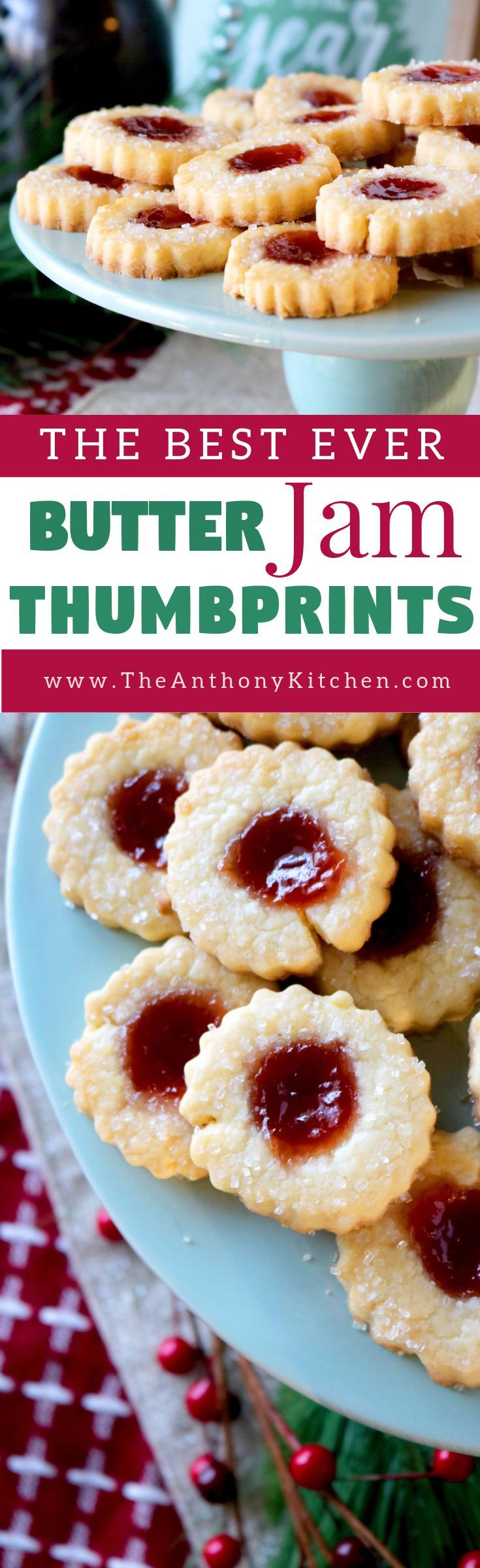 Butter Cookie Recipes | A recipe for butter jam thumbprint cookies, featuring a melt-in-your-mouth, buttery cookie filled with strawberry jam and sprinkle with sparkling sugar | #dessertrecipes #bestcookierecipe #potluckdesserts #jamcookies