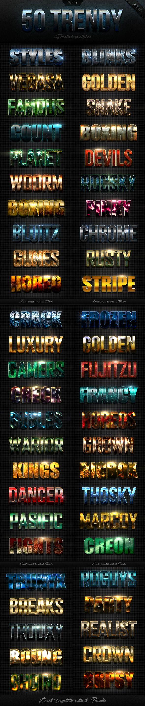 50 Trendy Photoshop Styles Bundle (CS, all, asl, bundle, effects, flares, font, light, metal, mixed, modern, pack, photoshop, premium, professional, styles, text, texture)