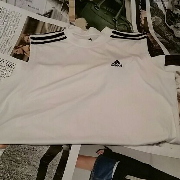 Mens Adidas Workout shirt White and black workout shirt! Adidas Tops Muscle Tees