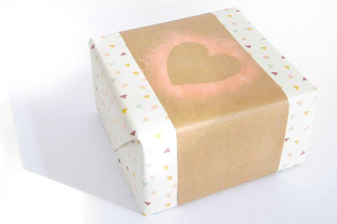 Shiny & Bright gift wrapping heart stencil idea