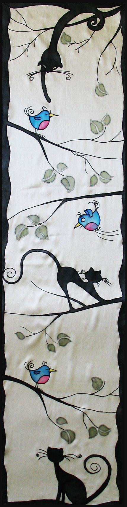 Silk scarf handpainted cat and bird silk batik shawl by LIAKURZ