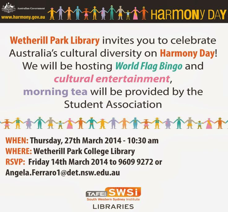 Wetherill Park College Library: Harmony Day @ Wetherill ParkTAFE Library!!! #HarmonyDay