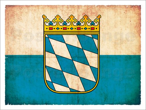 Christian Müringer Illustration Art - Flagge von Bayern im Grunge-Design