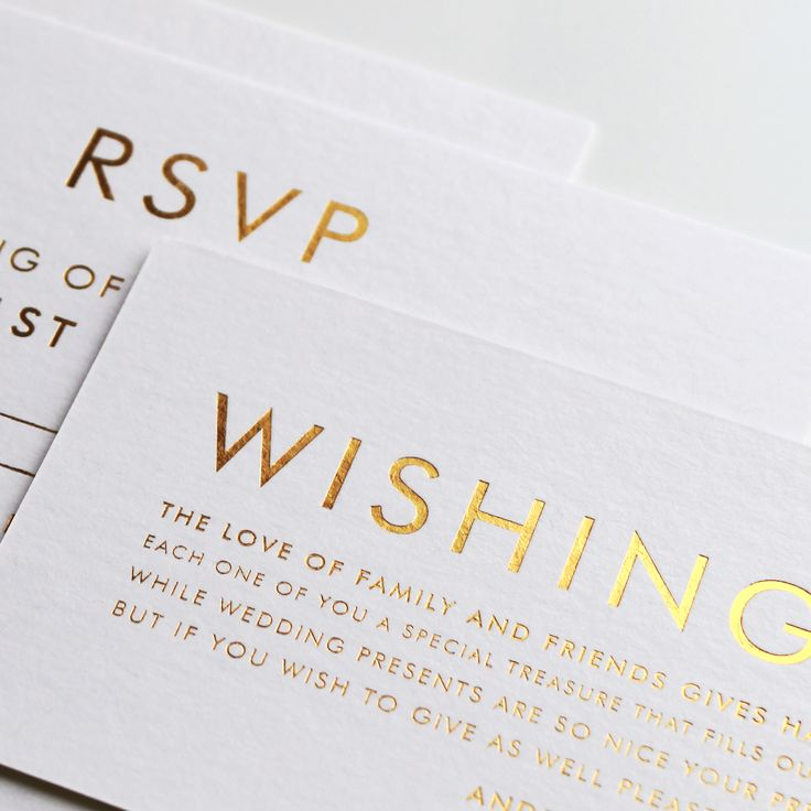 Contemporary wedding stationery with gold foil designed by @bellelovespaper. Invitations, RSVP and wishing well.