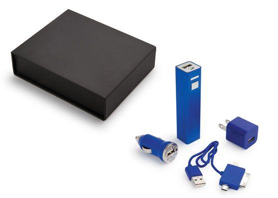 En Compranet Set de Cargadores Charger Bank Bateria Externa y Adaptadores - Azul CPN-01014-02 Visitanos en www.compranet.com.co