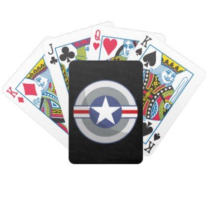 star and stripes shield bicycle playing cards - blue gifts style giftidea diy cyo