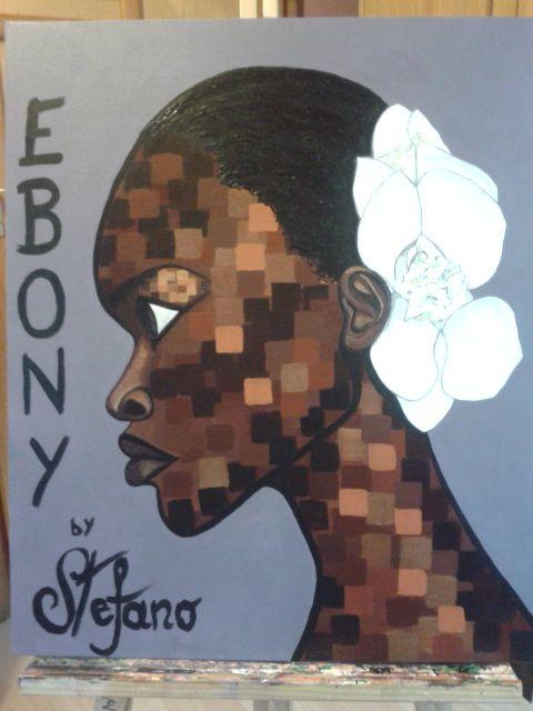 Ebony:by STEFANO acylic on canvas fashion art Alek Wek