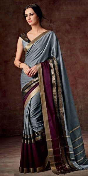 Freezing Grey And Violet Silk Printed Saree.