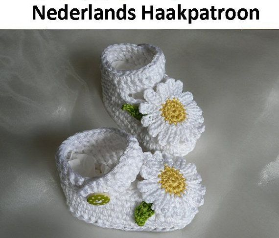 Nederlands Haakpatroon Baby Schoentjes Daisy door ElodyKnitsforKids