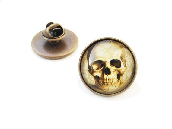 Skull - big lapel pin, adventure vintage style, 20mm glass dome cabochon, antique bronze brooch, human skull skeleton bones, steam punk