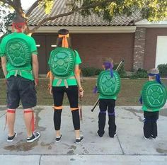 Family Ninja Turtle DIY Costume   Cute And Creative Halloween Costumes by DIY Ready at http://diyready.com/diy-ninja-turtle-costume-ideas/