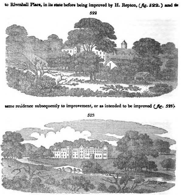 Rivenhall Place as reimagined by Humphrey Repton, John Claudius Loudon's example of landscape gardening from his 1822 edition of the Encylop...