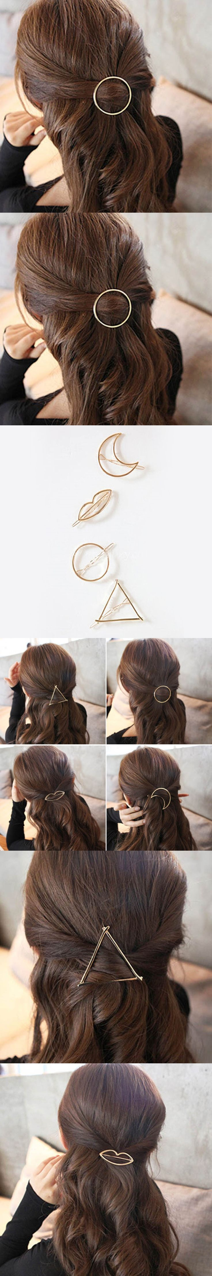 2017 New Brand Hairpins Triangle Moon Hair Pin Jewelry Lip Round Hair Clip For Women Barrettes Head Accessories Bijoux De Tete