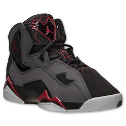 Boys' Grade School Jordan True Flight Basketball ShoesBlack/Gym Red/Anthracite/Wolf Grey #MyNewBabys
