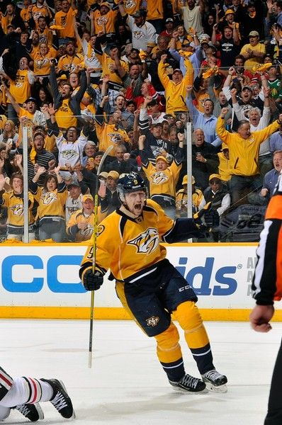 Filip Forsberg Photos - Filip Forsberg #9 of the Nashville Predators celebrates a goal against the Chicago Blackhawks in the second period of Game Two of the Western Conference Quarterfinals during the 2015 NHL Stanley Cup Playoffs at Bridgestone Arena on April 17, 2015 in Nashville, Tennessee. - Chicago Blackhawks v Nashville Predators - Game Two