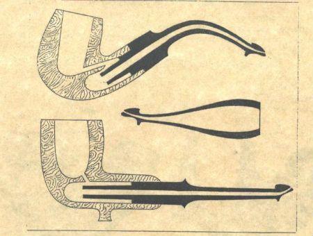 """Peterson LIP V roce 1898 pak Peterson vynalezl skus s názvem """"Peterson Lip"""", který nasměruje kouř nahoru, pryč od jazyka. Skus Peterson Lip redukuje množství slin, které se dostane do náustku, a poskytuje také lepší tvar skusu pro pohodlnější držení dýmky v ústech."""