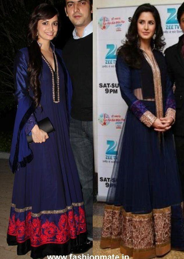 katrina kaif and dia Mirza in Manish Malhotra Blue Anarkali