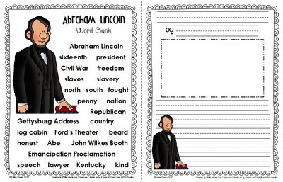 Word bank and Lincoln writing paper.