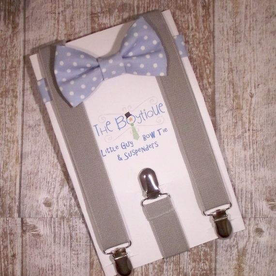 Boys Suspenders and Bow Tie Blue Polka Dot by TheBoytiqueExpress