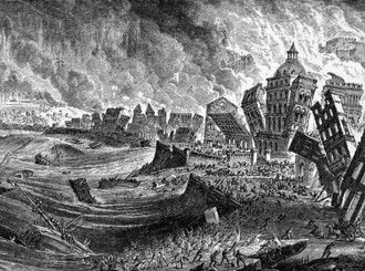 WORST TSUNAMIS 2. This is a drawing about the second worst tsunami in Lisbon portugal in 1775 killing more then 100,000 people in Lisbon portugal. Robert