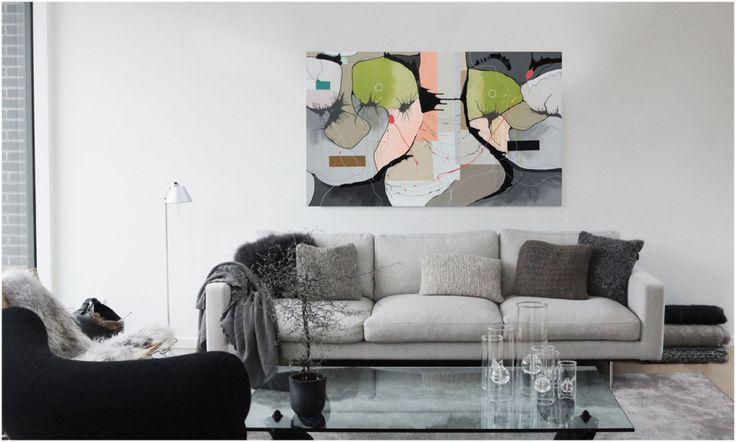 Malerier til stuen, bolig indretning, kunst til hjemmet, Christina Julsgaard, moderne og abstrakt kunst. Se mere på http://www.cjulsgaard.dk/inspiration-moderne-kunst1