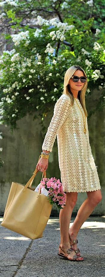 neutral dress + sunglasses + bag + flowers