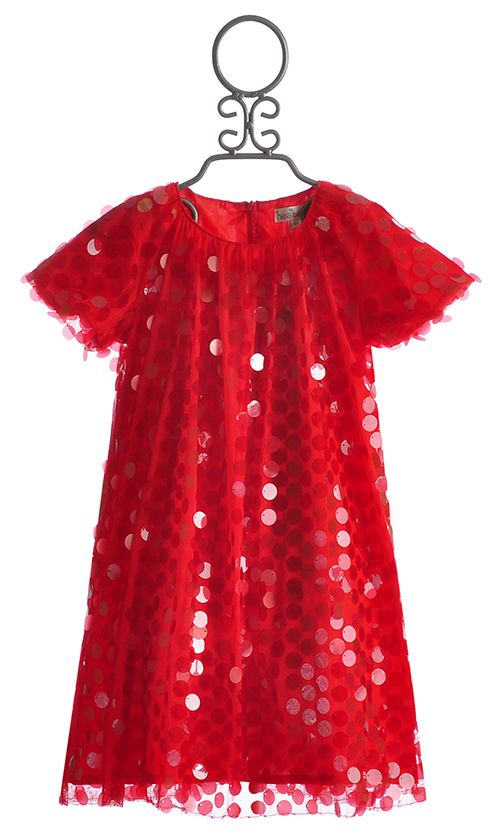 Halabaloo Red Sequin Holiday Dress For Girls Christmas
