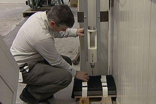 Testing stab resistance of a new material using standard testing equipment.