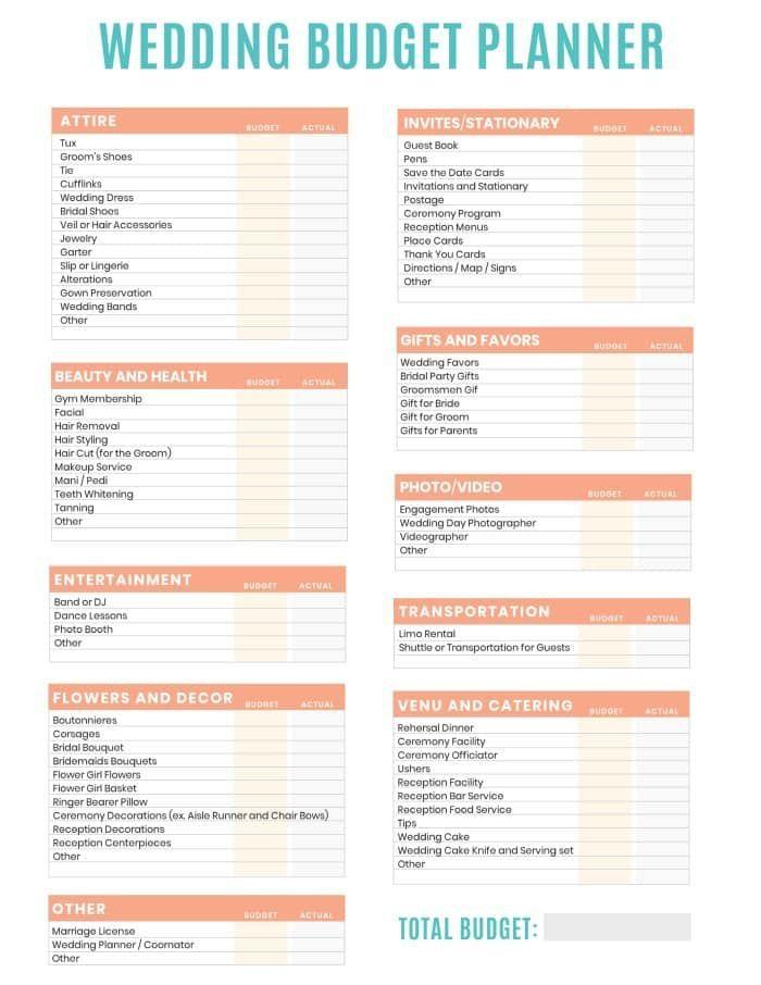 Free Printable Wedding Budget Planner Worksheet Budget Free