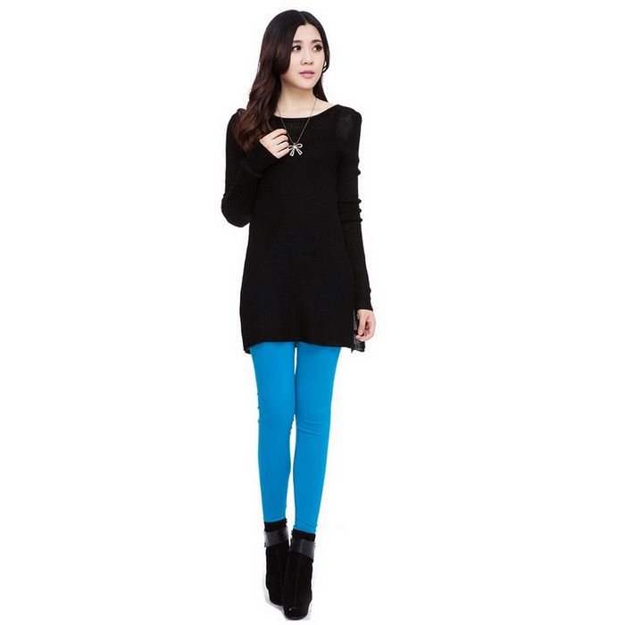 Fanshimite FS-005 Women's Casual Long Sleeves Cotton Pullover Knitted Sweater Knitwear - Black