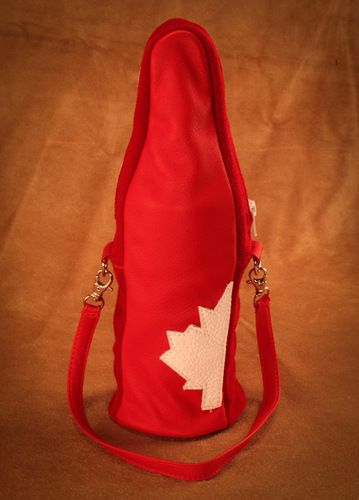 Deerskin Canadiana Bottle Cozy. #leather #Canada #handmade #Rockwood #Ontario #like #daily #fashion #hidesinhand