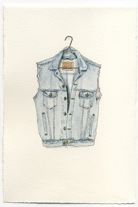 SALE. ORIGINAL Watercolor Illustration - Levis Cut Off Jean Jacket Vest. $80.00, via Etsy.
