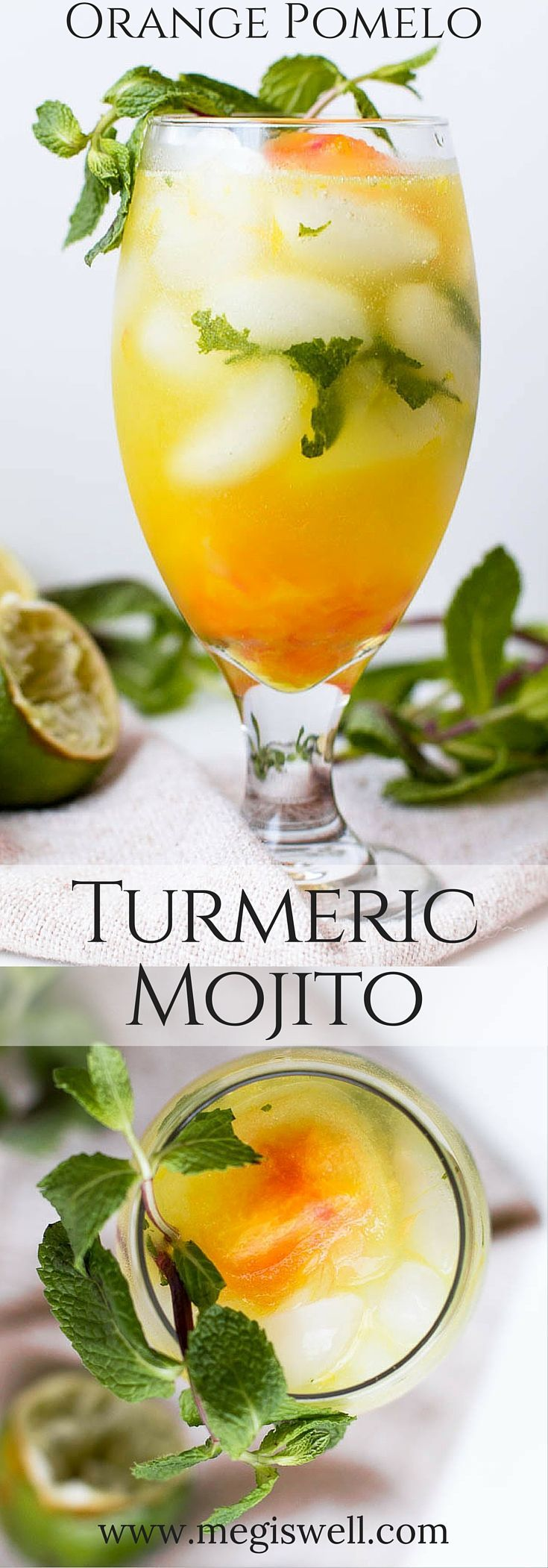 Put a sweet summer twist on the classic mojito by adding fruity simple syrup ice cubes, creating a sweet icy slush at the end of this Orange Pomelo Turmeric Mojito {wineglasswriter.com/}