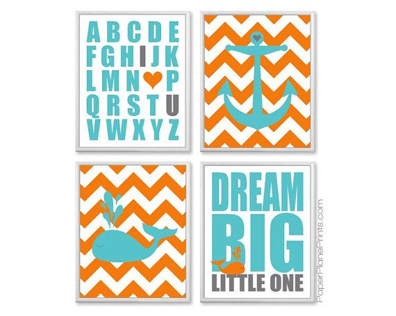 nautical theme nursery wall art set, super cute for boys bathroom, gotta love the whale!! shown in teal, orange, and grey. by PaperPlanePrints, $45.00
