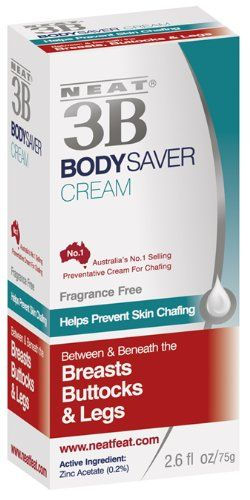 Neat Feat 3B Body Saver Skin Chafing Antiperspirant Cream, 2.6 Fluid Ounces  Helps prevent sweat rash and chafing between the thighs, buttocks and breasts  Ideal for athletes and safe for the whole family  May also help to prevent fungal infections such as tinea and interigo which tend to occur in these warm, moist areas of the body  Effective antiperspirant in an emollient, soothing cream base  Active Ingredient= Zinc Acetate 0.2%