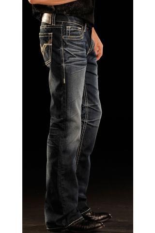 Men's Indigo Rock And Roll Cowboy Jeans Slim Dark Wash Western Wear