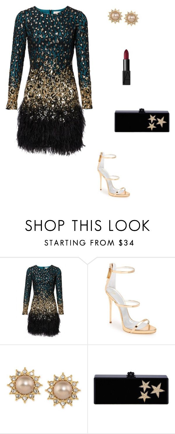 Night out by catarina-teixeira-de-queiros on Polyvore featuring Giuseppe Zanotti, Edie Parker, Carolee and NARS Cosmetics