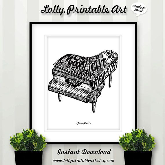 Instant Download Black and White Piano by LollyPrintableArt